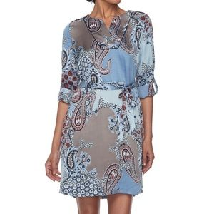 Dana Buchman blue paisley shirtdress shirt dress